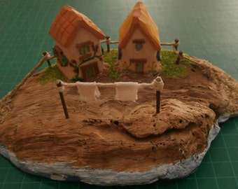 Miniature Houses Hand Carved from Beechwood on Driftwood Base