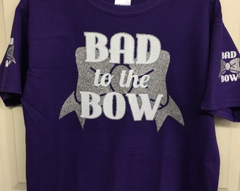 Bad to the bow tshirt, cheerleader, cheer tshirt