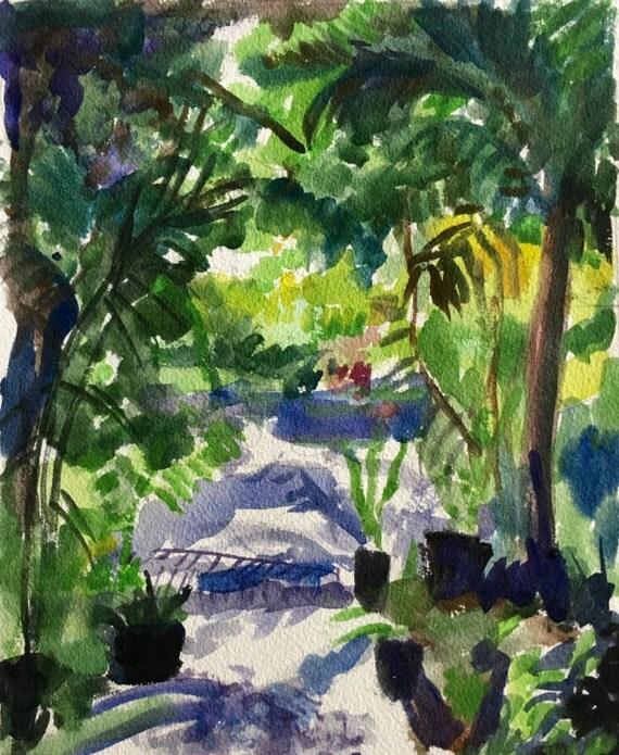 Tropical Garden: Original watercolor painting