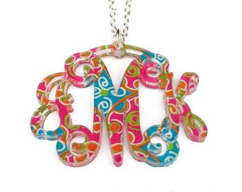 Monogram Acrylic Necklace | Custom Patterns | Monogram Necklace | Gift for Her |