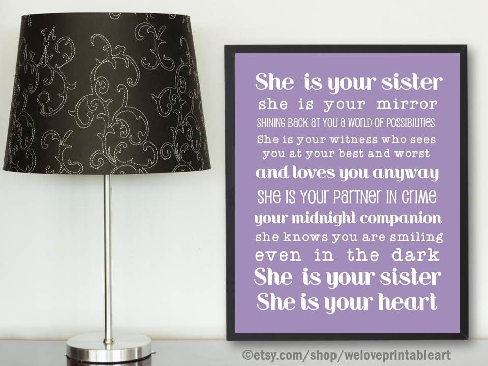 Gifts for Sister Purple Poster Gift Ideas for Sister