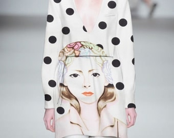 Cartoon portrait printed wave dots positioning fabric fashion dress fabric - 150 cm wide x 75 cm -ag