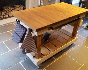 Handmade Kitchen Island Butchers Block Style - Any Colour Made to Order