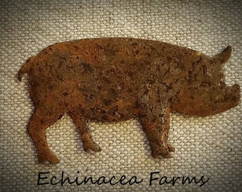 RUSTY TIN PIG * Set of 12 * Primitive Cutout Tin Craft Supply Country Cottage Farmhouse Lodge Ornie Ornament Wreath Rustic