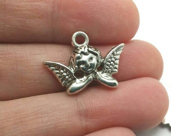 BULK 50 Cherub Charms, Valentine's Day Charms, Angel Charms, Bulk Charms (5-1096)