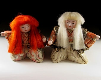 Pair of Red and White Kimekomi Lion Dancer Kabuki Dolls