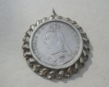 1890 Silver Mounted Crown Coin Victoria Necklace Pendant
