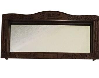 Shadow Box Carved Wood Skull & Crossed Swords Mirror