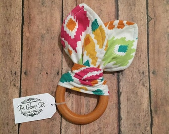 More colors! Organic maple wood teethers with cotton bunny ears, teething toy