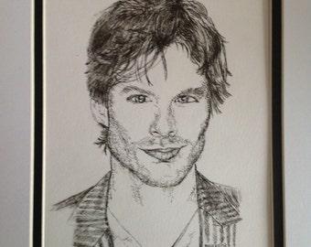 Ink drawing of Ian Somerhalder Portrait, Vampire Diaries Actor,Damon Salvator,Ink Drawing, Original Art, Fan Art, Celebrity Portrait