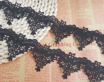 "2 Yards Lace Trim Black Exquisite Alencon Luxury Wedding Scalloped Embroidered 2.36"" width"