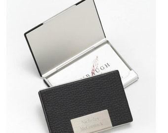 Personalized business card holder leather monogrammed engraved custom desk cases organizer holders case folder men RR10150