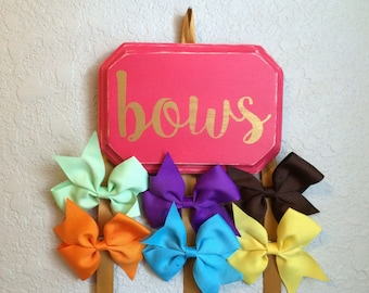 Personalized Ribbon Bow Holder; NO flower