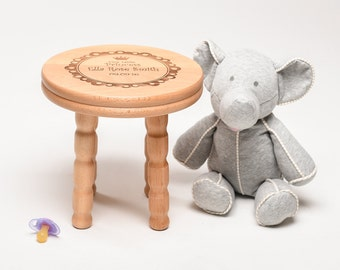 New Baby Gift Personalised Wooden stool Newborn Christening Gift, Child Gift
