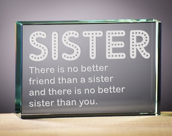Birthday Gift for your Sister.  Sister Glass Block Gift