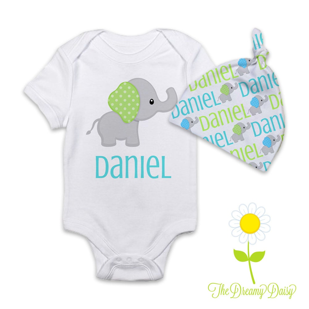 Personalized Baby Gift Sets : Personalized elephant baby boy gift set bodysuit or