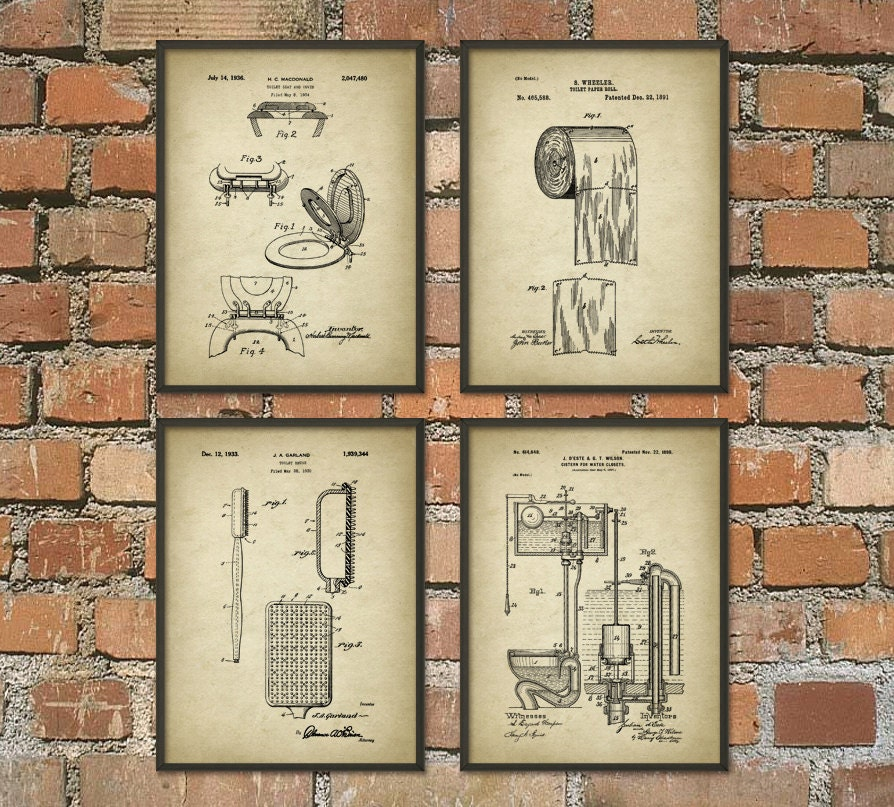 Bathroom Art Print Set Of 4: Toilet Inventions Patent Print Set Of 4 Bathroom Poster