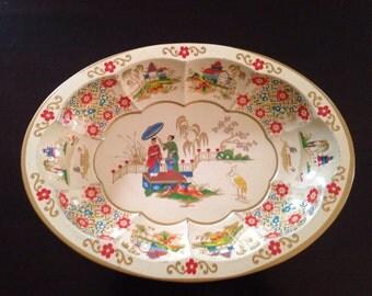 Vintage oval Daher Asian decor tray