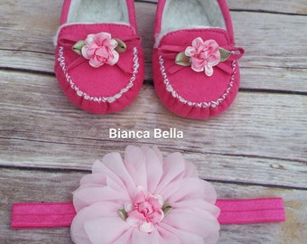 Baby Moccasins Baby Girl Booties Headband Set Baby Girl Shoes Hot Pink Baby Shoes Baby Booties