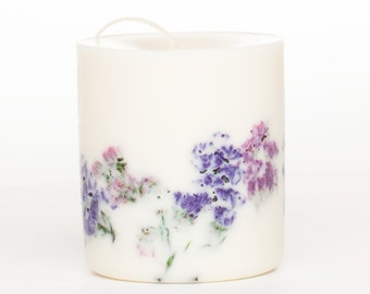 Soy Wax Pillar Candle Wild Flowers with Patchouli/Amber/Pepper scent