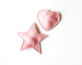 Pink heart hair clip, heart hair clip, pink leather hair clip, heart snap clip, leather pink star, pink hair star,  heart and star snap clip
