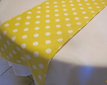 Yellow Polka Dot Table Runner, Wedding, Bridal Shower, Baby Shower,  Birthday Party, Lemonade Party, Easter
