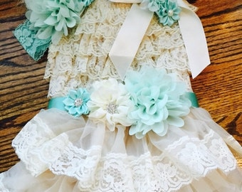 SHIPS NEXT DAY/Vintage Inspired Cream Lace Petti Dress Set/Aqua Flower Sash & Headband/Adorable Birthday Outfit/Dress/Toddlers/Girls Sizes