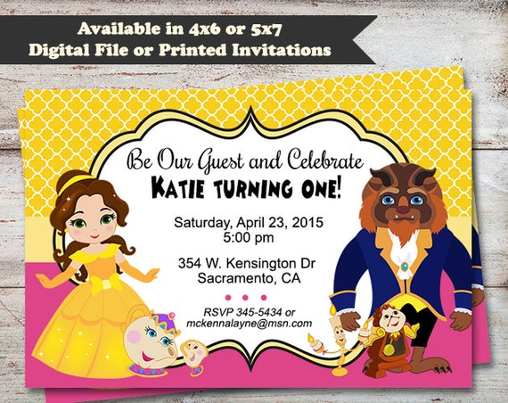 Beauty and The Beast Party Invitations Princess Belle Birthday – Beauty and the Beast Party Invitations
