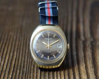 """USSR Watch POLJOT 17 Jewels Gold Plated Day Date,Vintage men's watch, brown dial men's watch, wrist watch """"POLJOT"""