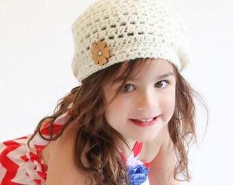 Crocheted slouchie beanie, girls beanie, slouchie hat, photo prop, girls gift, spring beanie