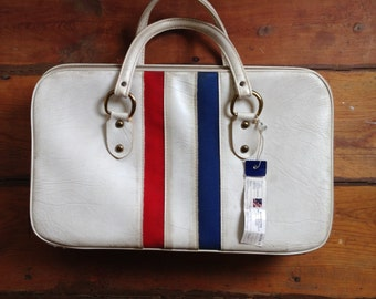 60's Flight Attendant Carry On Red, White and Blue Medium sized bag