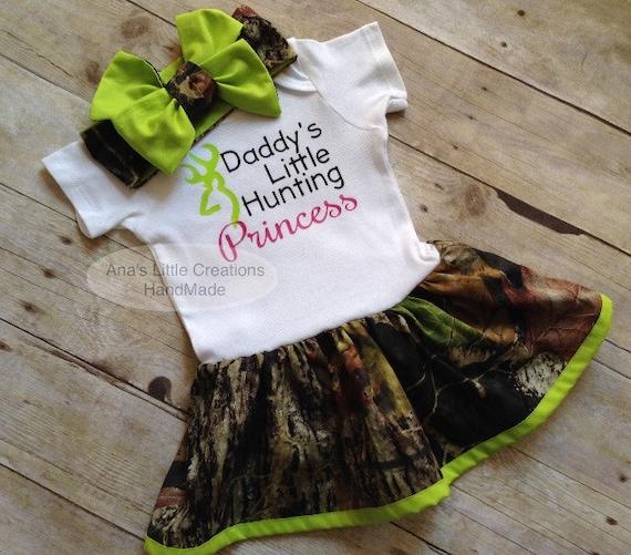 Camo Mossy Oak Body Suit Dress, Mossy Oak Lime Green Baby Dress and Self Tied Mossy Oak Headwrap/Headband Set