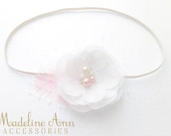 White and Pink Baptism Flower Headband, Baby Christening Headband, Pure White Flower with pearl, Delicate White Headband, Newborn Headband