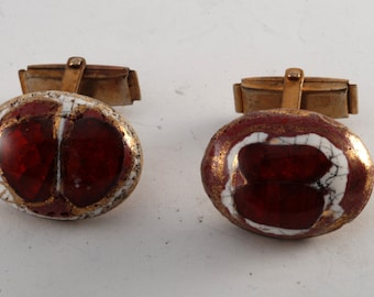 Antique Glass Red Painted Gem On Brass Cufflinks Cuff Links OOAK
