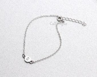Alphabet 925 Sterling Silver Bracelet, Initial bracelet, Womens silver chain Bracelet