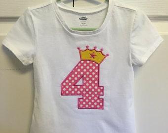 Princess Crown Number Four Applique Toddler Girls Tshirt