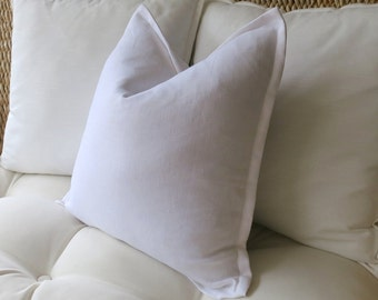 White Linen Pillow Cover, Flange Edge Pillow, Linen Pillow Cover, White Pillow, Pillow Sham, Euro Pillow Sham, 18 x 18, 20 x 20, 22 x 22
