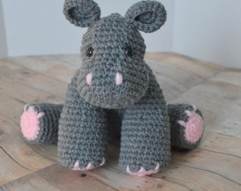 Hippotamus Plush, Stuffed Animal, Gray Crochet Hippo Amigurumi, Baby Soft Toy, Made to Order