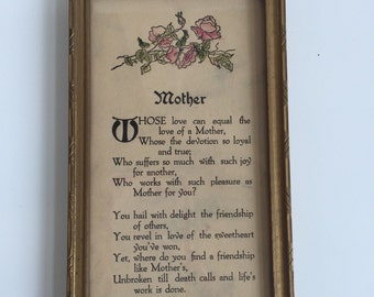 "Vintage Framed Buzza Motto ""Mother"""