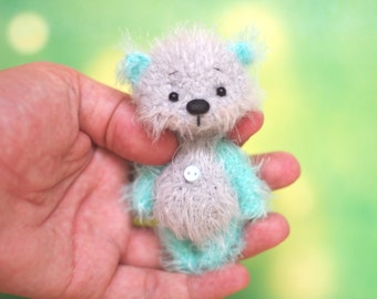 Ooak Artist Teddy bear 3.5 inches, miniature, animal creature present gift handmade toy
