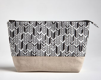 Waterproof Makeup Bag, Zippered Pouch, Black and White Cosmetic Bag, Feathers Onyx Chevron Makeup Pouch