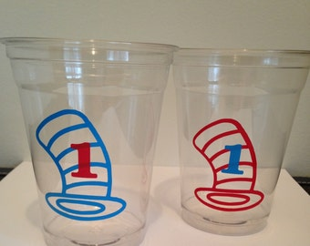12 Cat in the Hat Party Cups, Dr Seuss Birthday, Thing One and Thing Two Birthday, Cat in the Hat Birthday