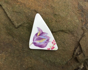 brooch - vintage china brooch - upcycled china - purple crocus brooch - flower brooch - eco jewellery - handmade - broken china jewellery