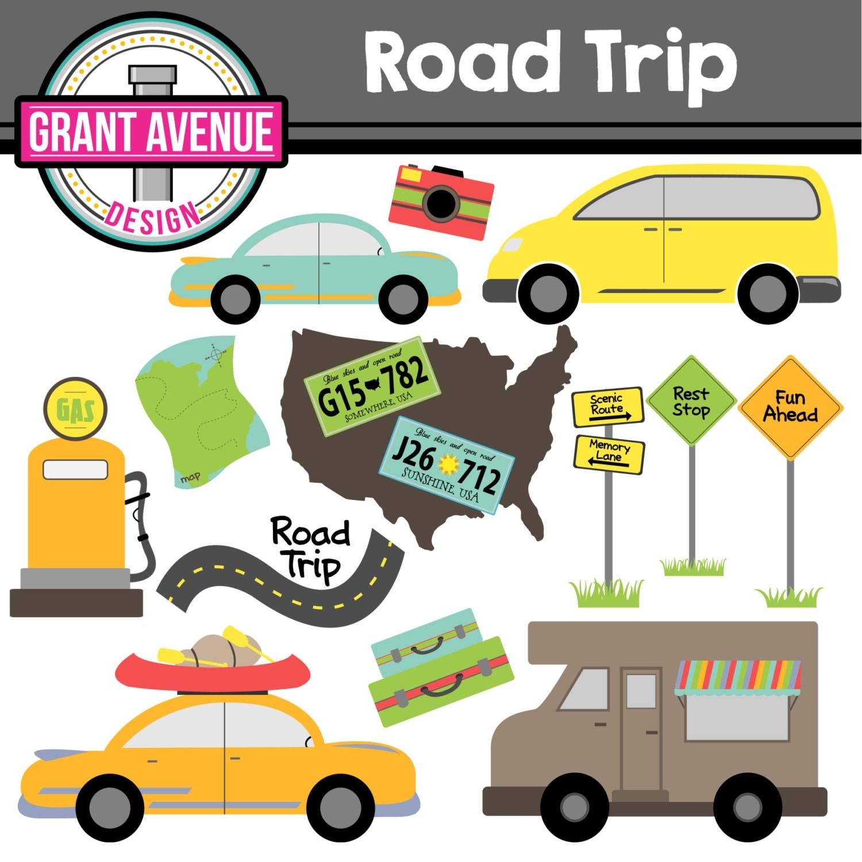 road trip cute digital clipart set for personal and road trip clipart red car road trip clipart images