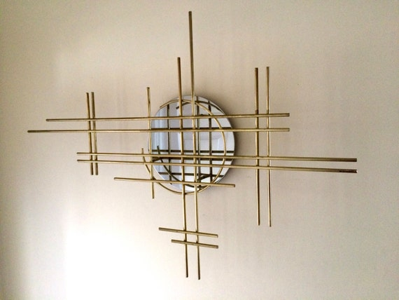 RESERVED For CRP C. Jere Abstract Metal Wall Sculpture Brass