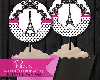 Cupcake toppers Paris Hot Pink and Black, Eiffle Tower, French  printable, digital file, pdf,  DIY, Instant Download