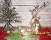 Vintage Hollywood Regency Brass Buck Stag Deer Figurine Trinket Box, Coin Valet, Key Valet