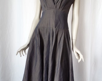 One of a kind iridescent V front back pleated wrap jumper dress/ contrast inside indigo +tan twill: size 4-6 US woman