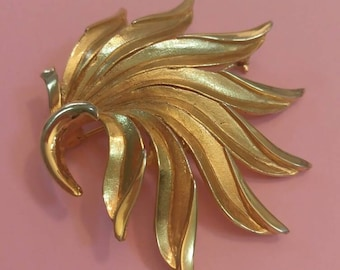 Vintage brooch gold tone leaf by Barcs signed and numbered 1960's