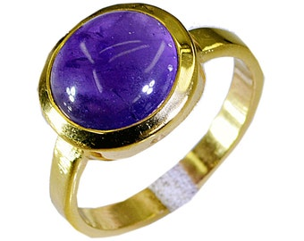 Copper Ring,Purple Ring,Amethyst Purple Ring,finger,sterling silver ring,22k Gold Plated